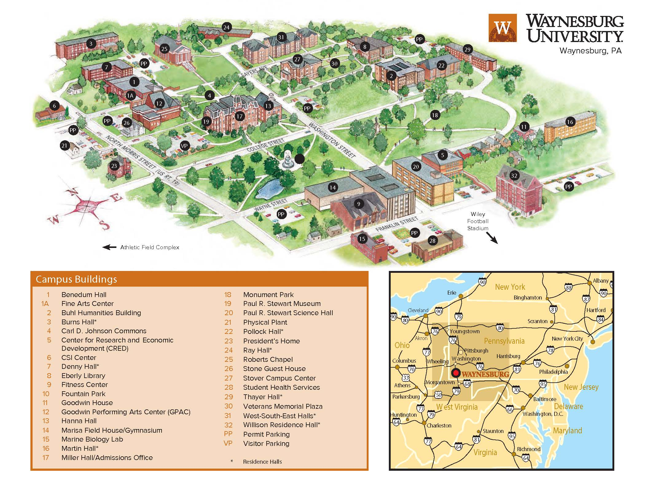 Waynesburg University | Locations and Campus Map