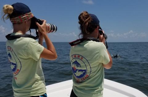 Kat (left) photographing dolphins