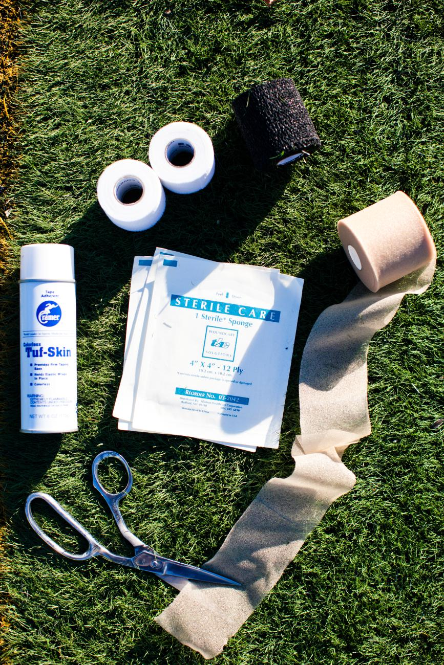 Athletic training tape and other materials.