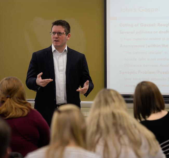 Professor Josh Sumpter lectures in his Biblical & Ministry Studies course